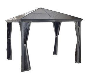 Sojag Aluminium Pavillon 3x3 m Gazebo Verona 10x10 inkl. Moskitonetz grau Gartenpavillon Garten
