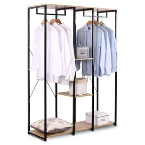 WOLTU SR0048hei XXXL Kleiderständer Wäscheständer Kleiderschrank mit Ablage Schuhregal aus Holz und Stahl, Schwarz + Hell Eiche