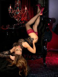 halterlose struempfe Ballerina 502 schwarz mit roter Spitze  Stockings Damenstruempfe , Größe:S/M - (36/38)