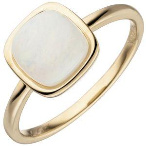 JOBO Damen Ring 58mm 585 Gold Gelbgold 1 Opal Goldring