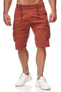 Max Men Herren Cargo Shorts Kurze Chino Bermuda Hose H2340, Farben:Rot, Größe Shorts:30W