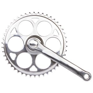 Kettenradgarnitur, 1-Gang, 170 mm Stahl-Kurbel, Stahl-Kettenblatt 46 Z., JIS, für Vierkantachse, verchromt
