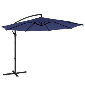 SONGMICS Sonnenschirm, Ampelschirm Ø 300 cm, UV-Schutz bis UPF 50+, mit Kurbel zum Öffnen und Schließen, Sonnenschutz, Gartenschirm, marineblau GPU016L01