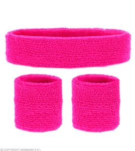 Neon Schweißbänder mit Stirnband - Pink - Set -  80er 90 er Jahre
