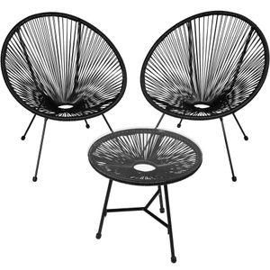 tectake 2 Gartenstühle Gabriella mit Tisch - schwarz