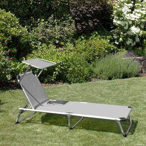 Wohaga® Aluminium Sonnenliege 'Perth' mit Sonnenschutz Grau