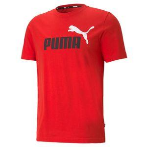 PUMA Herren T-Shirt - ESS+ Essentials 2 Col Logo Tee, Rundhals, Kurzarm, uni Rot 4XL