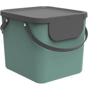 Rotho Albula Mülltrennungssystem 40l für die Küche, Kunststoff (PP) BPA-frei, dunkelgrün/anthrazit, 40l (40.0 x 35.8 x 34.0 cm)