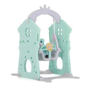 Baby Vivo Spielplatzschaukel / Kinderschaukel für Indoor Outdoor - Türkis/Grau