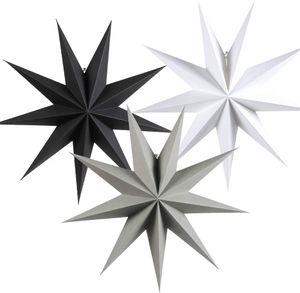 60cm Papier Stern Dekoration 3er Set Faltsterne Neuneck Weihnachtsstern Deko (Schwarz & Weiß & Grau)