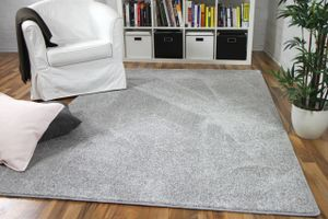 Hochflor Velours Teppich Mona Silbergrau, Größe:200x200 cm
