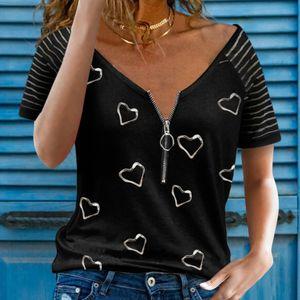 Frauen Hearts Print Kurzarm-T-Shirt V-Ausschnitt Patchwork Top T-Shirt, Schwarz, M