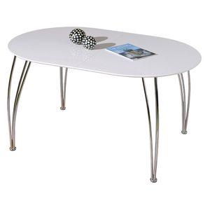Esstisch Ovali weiß chrom ausziehbar 140-180 x 90 cm