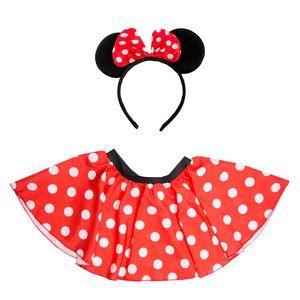 Oblique Unique Damen Maus Mouse Kostüm - Rock + Haarreifen mit Maus Ohren und Schleife gepunktet rot weiß schwarz