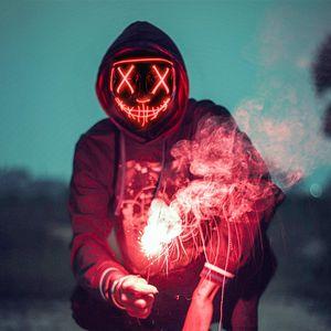 Halloween Maske, LED Purge Maske im Dunkeln Leuchtend, Halloween Purge Maske 3 Beleuchtungsmodi für Kostümspiele Cosplays Feste und Partys - Rot