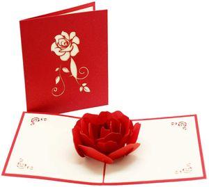 2PCS, 3D Karte, Pop-Up Karte Rot Rosen, Lover Jubiläumskarte, Hochzeitskarte Grußkarten für Hochzeit, Weihnachten, Geburtstag, Jubiläumskarte für Frau