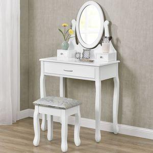 Schminktisch Lena mit Spiegel, Hocker und 3 Schubladen – weiß – Kosmetiktisch aus MDF Holz – Frisiertisch für Damen, Kinder & Mädchen ArtLife