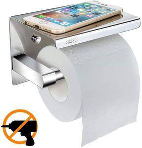 Toilettenpapierhalter Ohne Bohren mit Ablage, klorollenhalter Selbstklebend