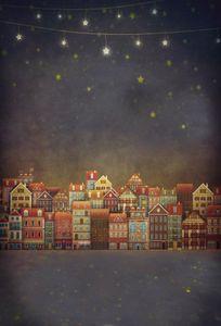 PKQWTM 150x220 cm Fotografie Hintergrund Stadt Nachthimmel Sterne Silhouette Mädchen Nette Cartoon Fotohintergründe Porträts Shooting Video Studio Requisiten