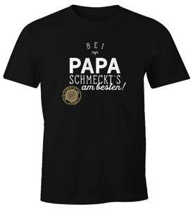 Herren T-Shirt Bei Papa Opa schmeckt`s am besten grillen kochen BBQ Fun-Shirt Moonworks® Papa 3XL