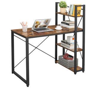 VASAGLE Schreibtisch 120 cm | Computertisch mit Regalböden rechts oder links | Bürotisch einfache Montage stabil vintagebraun-schwarz LWD48X