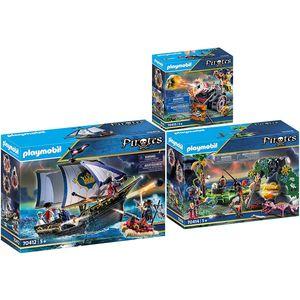 PLAYMOBIL 70412-14-15 Pirates 3er Set Rotrocksegle