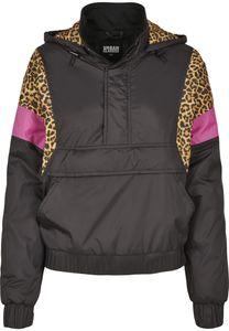 Urban Classics TB3063  Ladies AOP Mixed Pull Over Jacket, Größe:M, Farbe:black/leo