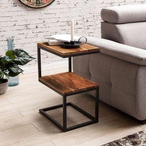 WOHNLING Beistelltisch AKOLA S-Form Massiv-Holz Sheesham / Metall 45 x 60 x 30 cm | Design Wohnzimmertisch Landhaus-Stil | Anstelltisch Ablagetisch eckig