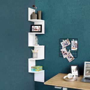 VASAGLE Bücherregal mit 5 Ebenen 127,5cm | Regal aus Holz | Eckregal mit Zickzack-Design weiß LBC20WT