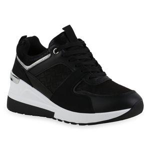Giralin Damen Sneaker Keilabsatz Schnürer Metallic Schnür-Schuhe 836714, Farbe: Schwarz Silber Metallic, Größe: 38