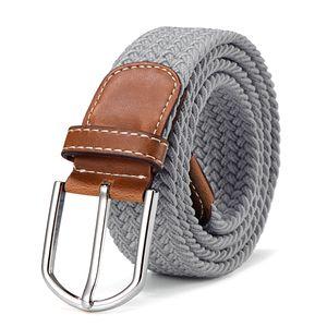 Stoffgürtel Stretchgürtel geflochten und elastisch Gürtel Länge 100 cm bis 130 cm hellgrau