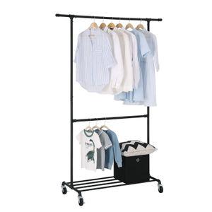 SONGMICS Kleiderständer mit Doppelstange auf Rollen bis 110 kg 130 x 49 x 198 cm gut belastbar Garderobenständer aus Metall schwarz HSR62BK