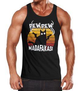 Herren Tanktop Pew Pew Madafakas Katze Western Cat Meme Fun-Shirt Spruch Achselshirt Moonworks® schwarz L