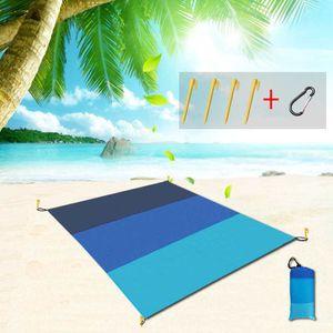 Wasserdichte Picknick-Stoff-Strandmatte, Outdoor-Camping-Picknickmatte, feuchtigkeitsbeständige Grasmatte,200x210cm,Farbverlauf Marine  