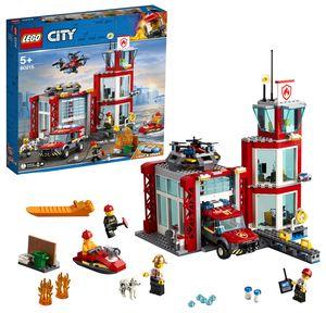 LEGO 60215 City Feuerwehr-Station, Feuerwehr-Spielzeug für Kinder mit Feuerwehrauto, Wasserscooter, Drohne, Licht-und Toneffekten und Minifiguren