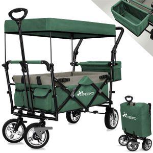TRESKO Bollerwagen Grün Faltbar Handwagen Klappbar Gartenwagen mit Dach Transportwagen XXL