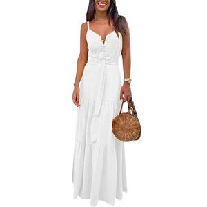 Lässiges Sommerkleid Für Damen Ärmelloser Langer Rock Mit V-Ausschnitt Knopf,Farbe: Weiß,Größe:S