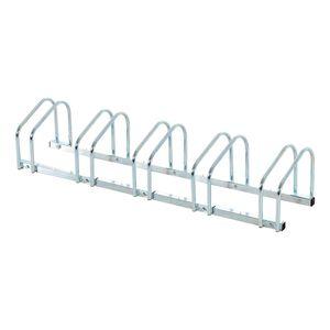 HOMCOM Fahrradständer Radständer Aufstellständer Mehrfachständer Fahrrad Ständer Boden- und Wandmontage Stahl Silber 130 x 33 x 27 cm bis 5 Fahrräder