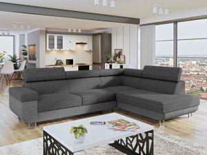 Mirjan24 Ecksofa Fonti, Eckcouch mit Schlaffunktion und Bettkasten, L-Form Sofa vom Hersteller (Lux 05 + Lux 06, Seite: Rechts)