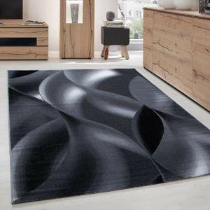 Kurzflor Wohnzimmerteppich Teppich Schattenmuster Hellgrau Schwarz Meliert, Grösse:160x230 cm