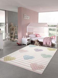 Kinderteppich Herzen Kinderzimmerteppich Mädchen in rosa lila grün Größe - 120x170 cm