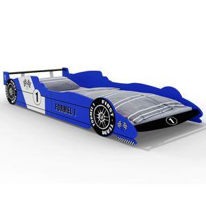 Formel 1 Kinderbett ✔ 90x200cm ✔ mit Lattenrost ✔ Auswahl blau oder rot ✔ Holzbett Autobett für Kinder