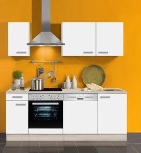 Küchenblock ohne Elektrogeräte Genf 210 cm in weiss mit Edelstahl Einbauspüle