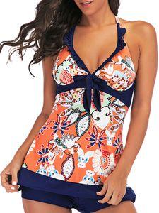 Damen V-Ausschnitt Tankini Set Badeanzug + Shorts Bandage Neckless Polster Push-up BH Print Bowknot,Farbe:Rot,Größe:XL