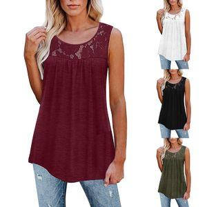 Damen Spitze Patchwork Weste Casual Loose Ärmelloses Shirt,Farbe: Rotwein,Größe:S