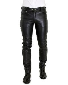 Bockle® Big Cheeker Röhre Schwarze Herren Lederhose Tube Röhre Skinny Slim Fit Herren Leder Jeans, W33/L34