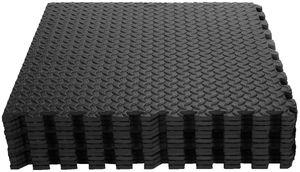 COSTWAY 12 STK. Schutzmatte, Bodenschutzmatte aus Eva, Puzzlematte, Matte für Bodenschutz, Unterlegmatte, Fitnessmatte, Gymnastikmatte inkl. Randstück