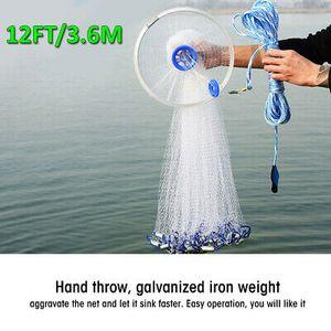 3.6m Wurfnetz Fischernetz Fisch Netz Nylon Cast Net Köderfischnetz Angelnetz DHL