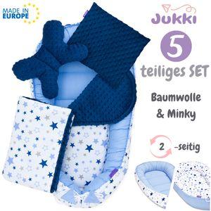 JUKKI® Baby Nestchen ✨ 5tlg MINKY SET für Neugeborene [Milky Way & Blau Minky] 2seitig Babynest + Matratze + Decke + 2xKissen