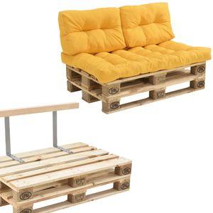 [en.casa] Euro Paletten Sofa Kissen Senffarben 2-Sitzer mit Paletten Polster Lehnen